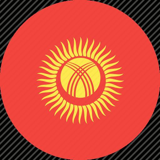 circle, country, flag, kyrgystan, nation icon