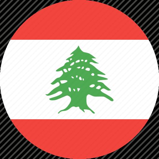 circle, country, flag, lebanon, nation icon