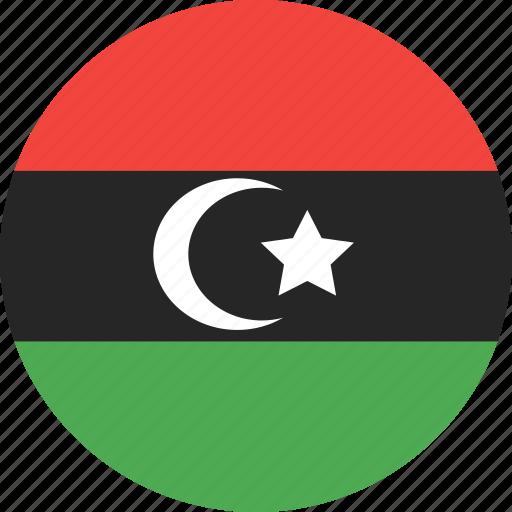 circle, country, flag, libya, nation icon