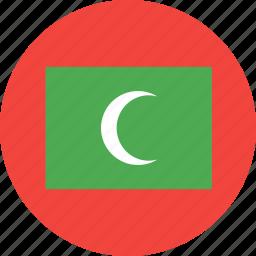 circle, country, flag, maldives, nation icon