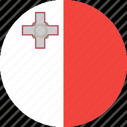 circle, country, flag, malta, nation icon