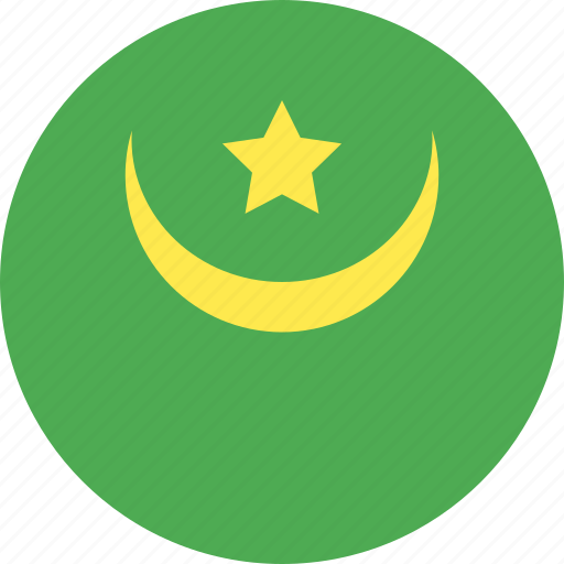 circle, country, flag, mauritania, nation icon
