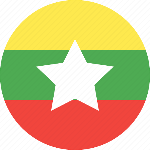 circle, country, flag, myanmar, nation icon