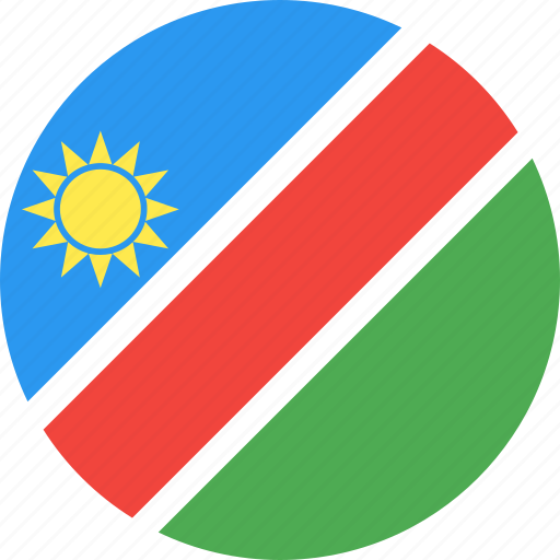 circle, country, flag, namibia, nation icon