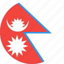 circle, country, flag, nation, nepal icon