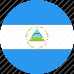 circle, country, flag, nation, nicaragua icon