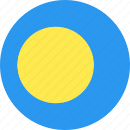 circle, country, flag, nation, palau icon