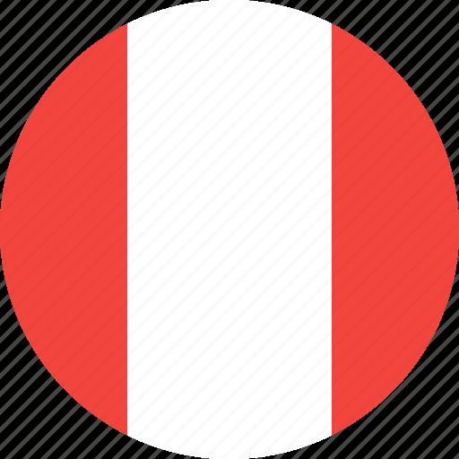 circle, country, flag, nation, peru icon