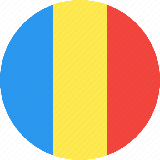 circle, country, flag, nation, romania icon