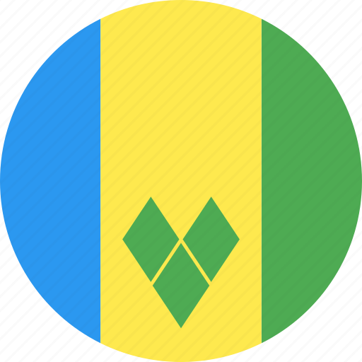 circle, country, flag, grenadines, nation, saint, vincent icon