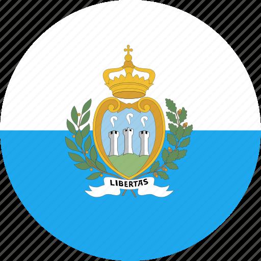 circle, country, flag, marino, nation, san icon