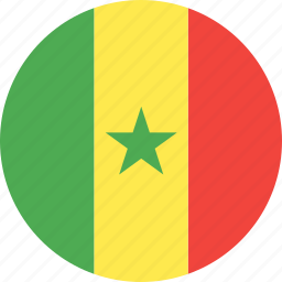 circle, country, flag, nation, senegal icon