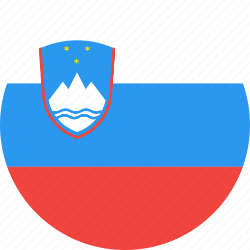 circle, country, flag, nation, slovenia icon