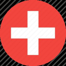 circle, country, flag, nation, switzeland icon