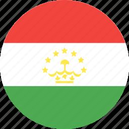 circle, country, flag, nation, tajikistan icon