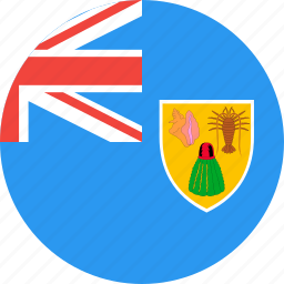 caicos, circle, country, flag, islands, nation, turks icon