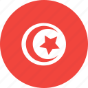 circle, country, flag, nation, tunisia icon