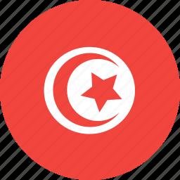circle, country, flag, nation, tunisia icon