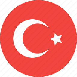 circle, country, flag, nation, turkey icon