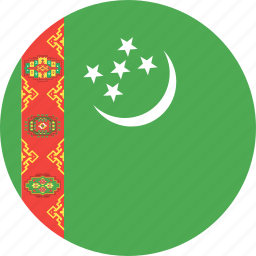 circle, country, flag, nation, turkmenistan icon