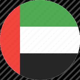 arab, circle, country, emirates, flag, uae, united icon