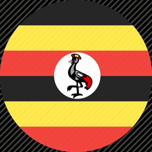 circle, country, flag, nation, uganda icon