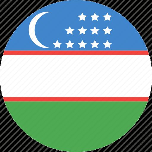 circle, country, flag, nation, uzbekistan icon