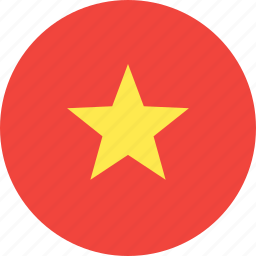 circle, country, flag, nation, vietnam icon