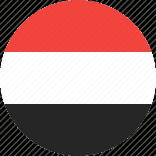 circle, country, flag, nation, yemen icon