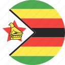 circle, country, flag, nation, zimbabwe icon