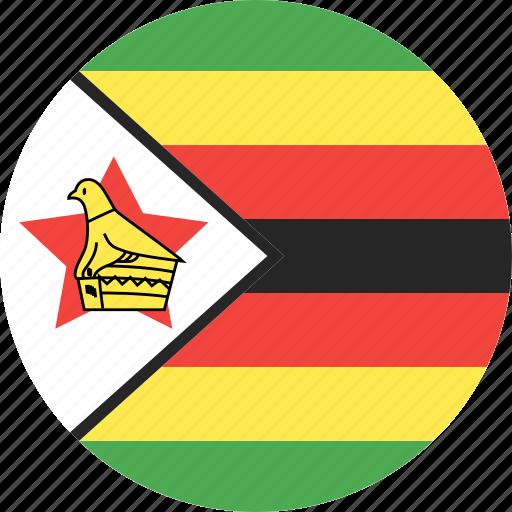 circle, country, flag, nation, zimbabwe icon