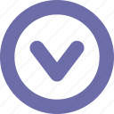 button, chevron, down, round icon