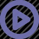 button, play, round, run icon