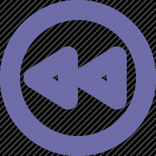 backward, button, rewind, round icon