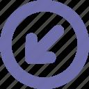 arrow, button, down left, round icon
