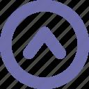 arrow, round, symbol, up icon