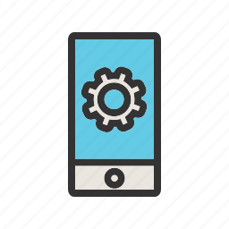 cell, customer, mobile, phone, setting, smart, watch icon