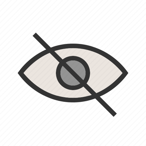 eye, glass, magnifying, no, off, unclear, visibility icon
