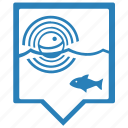 depth, find, fish, fishing, pointer icon