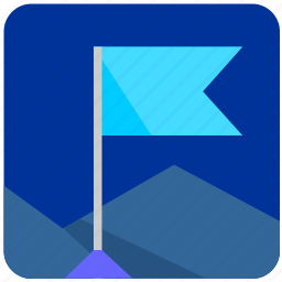 aim, flag, mountain, nature, pointer, target, tourism icon
