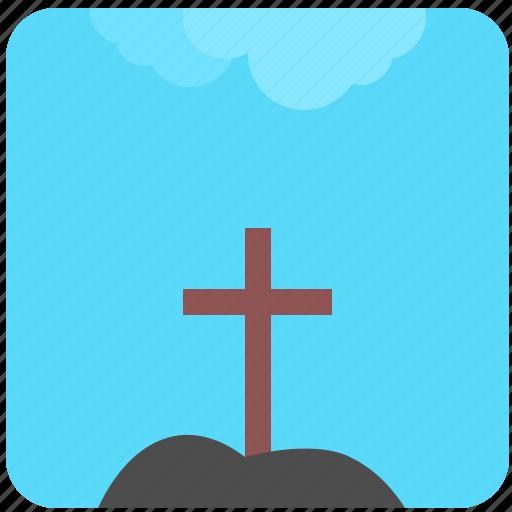 cross, death, grave, nature, place, sky icon