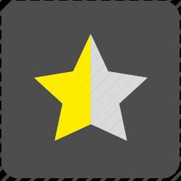 half, mark, rating, star icon