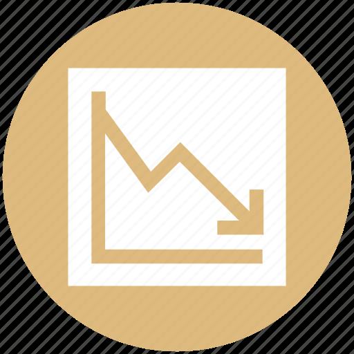 analytics, bar, chart, down, graph, stats icon