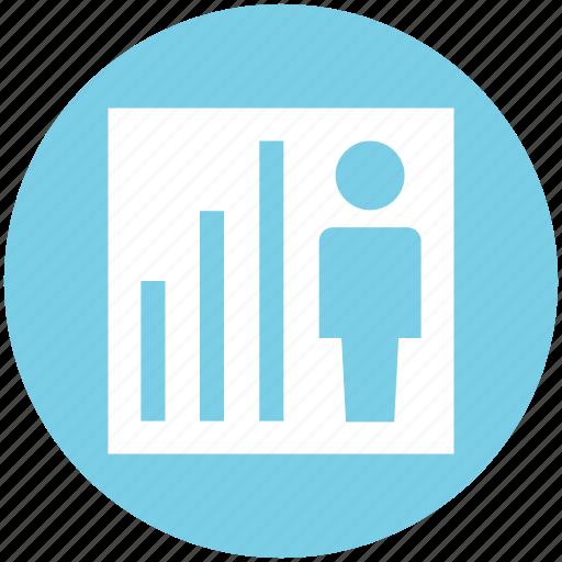 analytics, bar, chart, graph, man, statistics, user icon