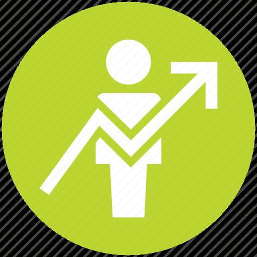 analytics, bar, chart, graph, up arrow, user icon