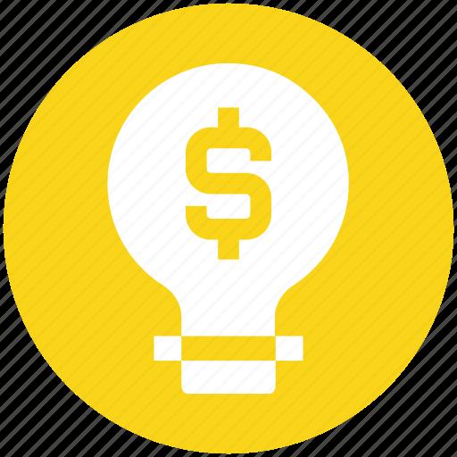 bulb, dollar, electric bulb, light, light bulb, money, power icon