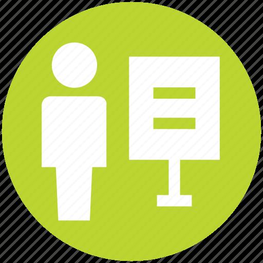 board, business, language, status, teacher, user icon