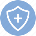 antivirus, plus, protect, security, shape, shield icon