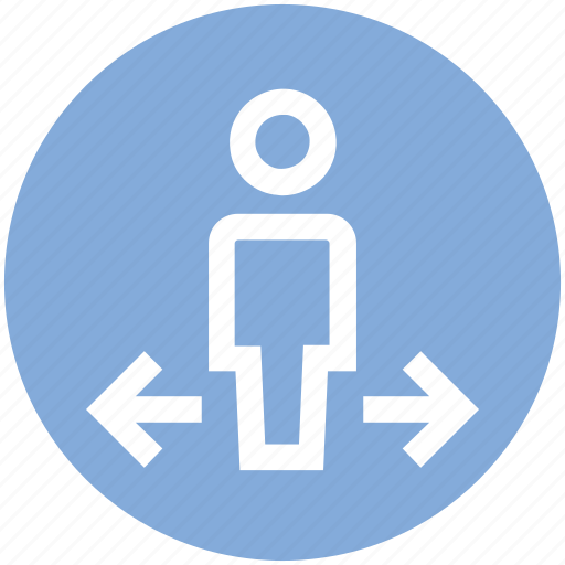 arrows, direction, left, man, navigation, right, user icon