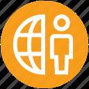 globe, internet, man, network, user, world icon